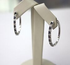 HOOP EARRINGS, DIAMOND / SAPHIRE 14 K  WHITE GOLD , LADIES , OVAL. SHAPE