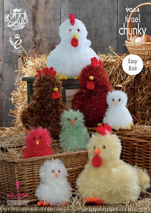 King Cole Tinsel Chunky & Dollymix DK Knitting Pattern Chickens & Chicks 9064