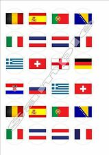 European - World Cup Flags Fairy Cake Toppers x 24