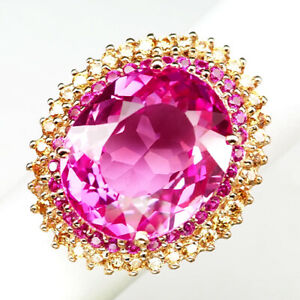 TOPAZ PINK OVAL 28.20CT.RUBY SAPPHIRE 925 STERLING SILVER ROSE GOLD RING SZ 6.75