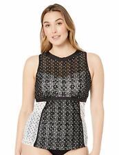 Anne Cole Womens Tankini Top Plus Size 20w Multi Striped High Neck Ruched