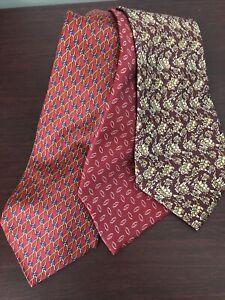 Lot of 3 Mens Vintage 100% Silk Classic Ties Chaps, Abboud, Lago di Como EUC