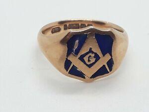 9ct gold masonic ring antique 1899 size R-1/2 heavy 8.1grams hallmarked