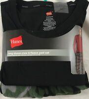 Hanes Men's Long Sleeve Crew & Fleece Pant Set Black Green Camo Size XL