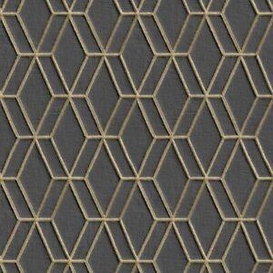 Vlies Tapete Wallstitch DE120066  Design ID Grafik Stoff Muster anthrazit gold