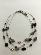 Beautiful 3 Wire Polished Stone Necklace With Small Beads Metal, Glass
