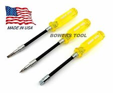 Jawco 3pc Flexible Screwdriver Set Phillips Flat 1/4 Drive Flex MADE IN USA