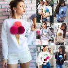 Spring Women's Girl Ice Cream Pattern Round Collar Long Sleeve Sweater Coat Tops