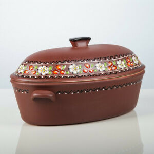 6 L Cherry Pattern Duck Roaster Baking Dish Stewing Stoneware Clay Cooking Pot