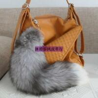 Authentic Clip on Silver Fox Tail Handbag Accessory Key Chain Hook Cosplay Toy