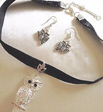 SALE /Owl. Velvet Ribbon Choker+silver Owlpendant&925 Owl Earings/giftbaged.