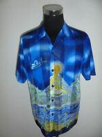 vintage 80s Hawaii Hemd gemustert shirt netzhemd netz mesh surfer oldschool XL