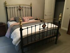 Antique Wrought Iron and Brass Queen Bed Head, Foot and Base.