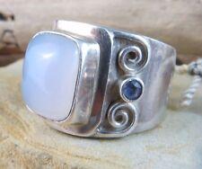 Vintage Signed 88Jen 925 Sterling Silver Moonstone Amethyst Ring Size 6.5 #827