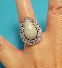 Jade Of Yesteryear Green Jade Paved CZ Princess  Ring Size 6 HSN .925 Silver