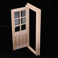 12th Dollhouse Miniature Wood External Single Door Unpainted DIY Accessories