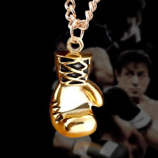 "22"" Mens Belcher Chain Gold or Silver Plated Boxing Gloves Boys Necklace Pendant"