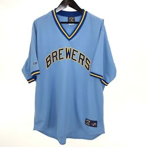 BREWERS Milwaukee Blue Cooperstown Jersey Majestic 3XL Vintage Made in USA