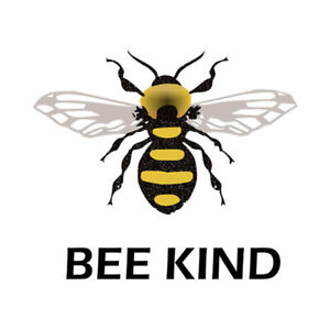 Set of 2 x Bee Kind DIY Iron on Screen Print Transfer patch for fabrics be kind