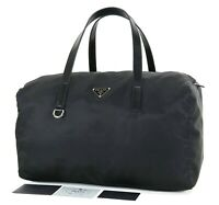 Authentic PRADA Black Nylon Boston Hand Bag Purse #34363