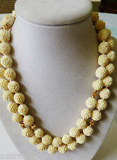 "HANDCARVED RESIN LUCITE ROUND ROSE FLOWER BEADS GOLD TONE SPACERS NECKLACE 36""L"