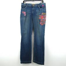 Apple Bottom Jeans Womens 8 Blue Embroidered Designs
