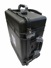 "Pelican ""Colors"" series, Black 1560 with silver handles & latches. With foam."