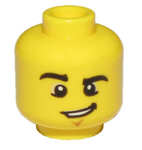 LEGO NEW YELLOW MINIFIGURE HEAD CHIN DIMPLE AND LOPSIDED GRIN RAISED EYEBROW
