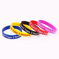 Type 2 Diabetes Insulin Dependent Medical Alert Silicone Rubber Wristband bracel