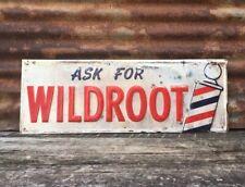 Vintage Barber Shop Sign Wildroot Metal Sign Antique Wild Root Sign Barbers Sign