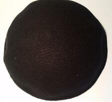 BIG Black Knitted Kippah Kippot 22 cm Yarmulke Jewish Hat kipa skull cap  SHABBAT 0fd06650f849
