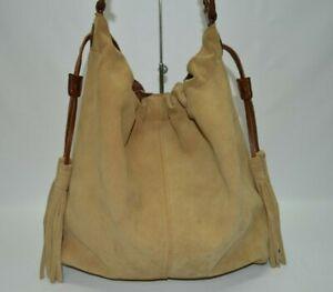 FLAWED Lucky Brand Boho Suede Slouchy Tassel Large Hobo Shoulder Bag