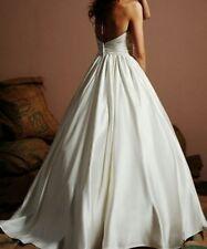 Eden Sweetheart strapless 1381 wedding Dress Sz 4 empire A-line satin floor $450