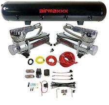 Airmaxxx Dual 580 Chrome Compressor Wire Kit 5 Gallon Steel 9 Port Tank Air Ride
