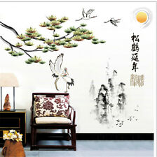 Pine Crane Chinese Room Home Decor Removable Wall Stickers Decals Decoration