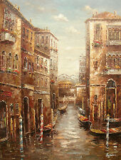 """Large Oil Painting of Venice City Scene Boats on River Between Houses 36x48"""""""