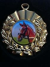 Gold Horse medal in black plastic case including free engraved plate