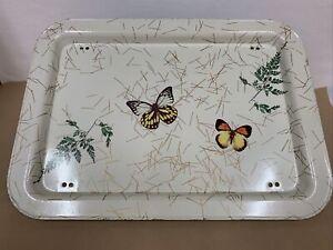 Vtg Butterfly Floral  LAP TRAY QUAKER RETRO Tv Tray Metal