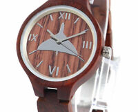 Vulcan motif watch, wooden case & strap, Ladies, Friend or Foe, Miyota Quartz