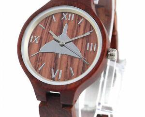 Vulcan motif watch, wooden case & strap, Ladies, Friend or Foe, Miyota Quartz