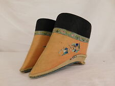 ANTIQUE CHINESE FOOTBINDING LOTUS SHOES EMBROIDERED COTTON