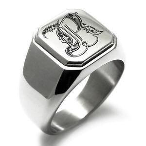Stainless Steel Monogram Royal Initial R Mens Square Biker Style Signet Ring
