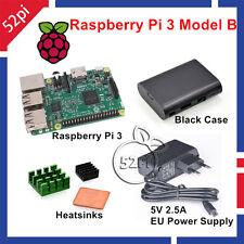 Raspberry Pi 3 Model B 1GB RAM + Heatsinks + ABS Case + 5V 2.5A Power Supply