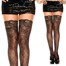 Black Floral Print Gardenia Lace Thigh High Spandex Stockings Garter Band Top OS