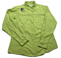World Wide Sportsman VENTED Fishing Shirt Sz M Lime Green Long Sleeve Zip Pocket