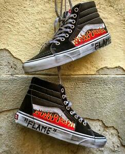 VANS Flame Sk8-Hi High Studs Vintage Shoes SK8 Flames Fire [Custom]