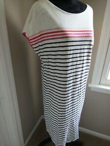 BODEN MULTI COLORED STRIPED SHORT SLEEVE DRESS - SIZE US 12L UK 16L