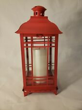 Decorative Red Colored Metal Candle Lantern w/ Candle Included