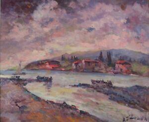 ANTONIO SBRANA Serata in Maremma sulla costa, olio su tavola, 49x69cm, firmata