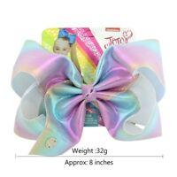 JOJO SIWA Large Bows Rainbow Leather laser Bow-knot Print Grosgrain Ribbon Hair